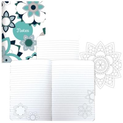 DoodlePlan journal de coloriage Blueline SEWN BINDING  160 RULED PAGES MANDALA DESIGN