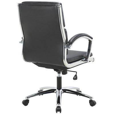 TygerClaw Executive Chair, Mid Back, Black, Bonded Leather BLACK BLACK BONDED LEATHER