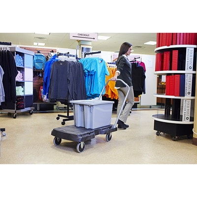 """Rubbermaid Commercial Triple Trolley With User Friendly Handle, Black, 5"""" Casters, 500 lb Load Capacity WITH FOLDING HANDLE"""