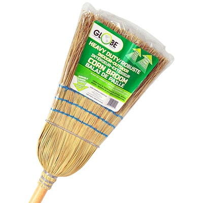 """Globe Commercial Products Heavy-Duty Indoor/Outdoor 3-Sews 56"""" Corn Broom  1 WIRE 3 STRING HANDLE 56"""" STURDY WIRE WOUND CONSTRUCTION"""