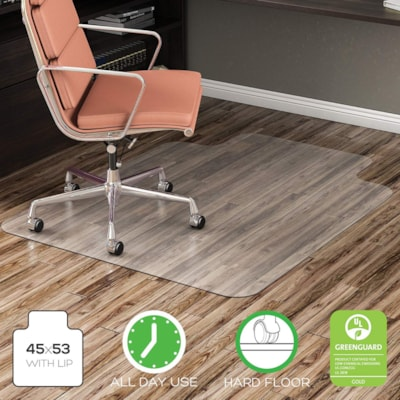 """Deflecto EconoMat Smooth-Back Vinyl Chairmat for Hard Floors, Clear, 45"""" x 53"""" with Lip (CM21232) FOR UNCARPETED FLOORS CLEAR VINYL"""