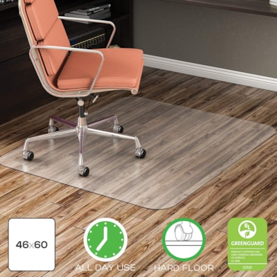 """Deflecto EconoMat Smooth-Back Vinyl Chairmat for Hard Floors, Clear, 46"""" x 60"""" (CM21442F) FOR UNCARPETED FLOORS CLEAR VINYL"""
