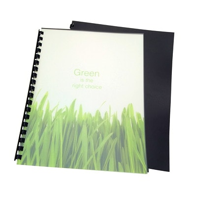 "Swingline GBC Recycled Poly Presentation Binding Frost Covers SIZE 8 1/2 X 11"" 100% RECYCLED POLY BINDING COVER"