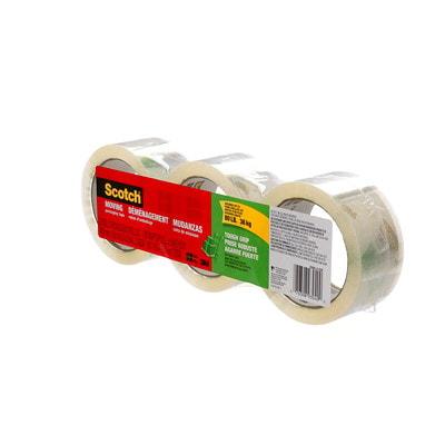 Scotch Tough Grip Transparent Moving and Packaging Tape, 3/PK TOUGH GRIP 48 MM X 50 M