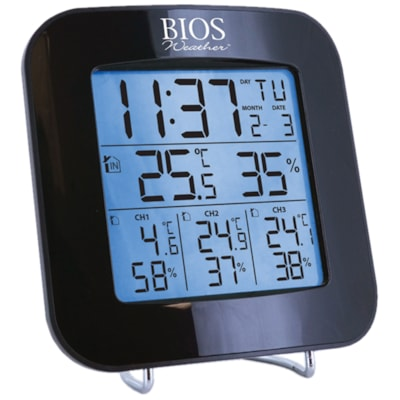 BIOS Living Indoor/Outdoor Weather Station with 3 Sensors  -40°C TO 70°C/ -40°F TO 158°F INDOOR HUMIDITY DATE & TIME