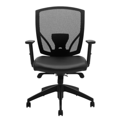 Offices To Go Ibex Mid-Back Synchro-Tilter Ergonomic Chair, Black Luxhide Bonded Leather Seat and Mesh Back MVL2801 BL20 BLK