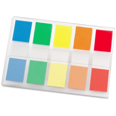 """Post-it Standard Flags, With On-the-Go Dispenser, Assorted Colours, 1/2"""" x 1 7/10"""", 100 Flags/PK TRADITIONAL COLOURS 100/PK RED ORANGE YELLOW GREEN&BLUE"""