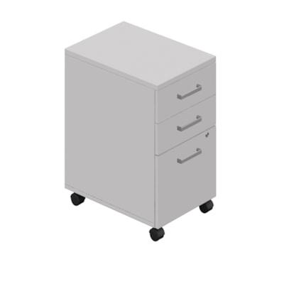 Caisson mobile à 2 tiroirs de rangement et 1 de classement Ionic Offices to Go, gris GRIS