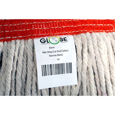 Globe Commercial Products Cotton Wet Mop With Cut End, 24 oz EXCELLENT ABSORBENCY & RELEASE NOT LAUNDERABLE