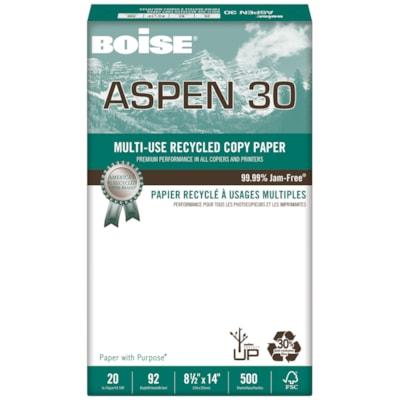 Papier recyclé à usages multiples Aspen 30 Boise, 20 lb, format légal, emb. de 500 RECYCLÉ 30% POST-CONSOM. 20LB INDICE DE BRILLANCE 92 500/PQT