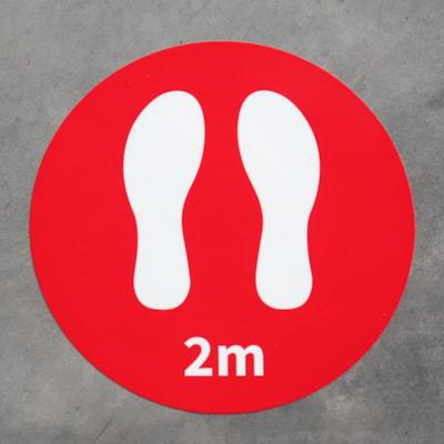 Autocollants de plancher de distanciation sociale Onyx + Blue, 2 m et pieds, emb. de 6 AUTOCOLLANTS DE PLANCHER