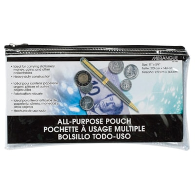 "Merangue Multi-Purpose Zipper Bag, Clear 0.59""H X 11.42""W X 5.91""L HEAVY DUTY VINYL"