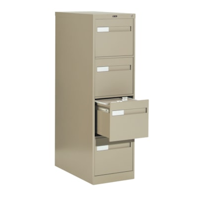 Global 2600 Plus Series Files, 4-Drawer, Letter-Size, Putty W/LOCK W/RECESSED PULL20Y WARR FULL CRADLE SUSP.26-1/2 DEPTH
