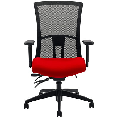 Global Vion High-Back Multi-Tilter Chair, Candy Apple Red Imprint Fabric Seat/Black Mesh Back IMPRINT GR 4 CANDY APPLE IM74