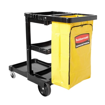 Rubbermaid Commercial Cleaning Cart With Zippered Yellow Vinyl Bag, Black 21-3/4IN.W X 46IN.L X 38-3/8IN .H  BLACK