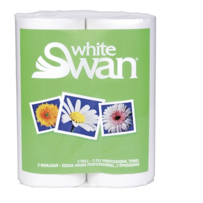 White Swan 2-Ply Professional Kitchen Towels, White, 80 Sheets/Roll, 2/PK 80 SHTS/ROLL   2 PLY