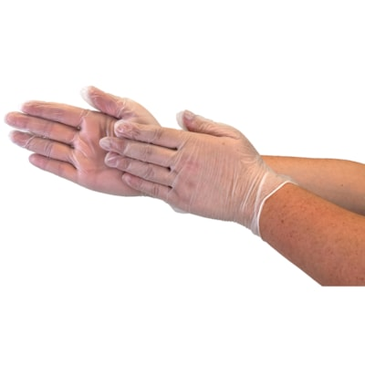 Globe Commercial Products Vinyl Gloves, 4 mil, Large, Clear, Box of 100 POWDER FREE  4 MIL BOX OF 100