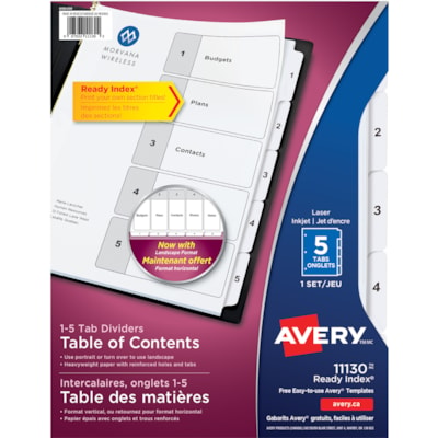 Avery Ready Index Customizable Table of Contents Dividers, Black and White, Numbered (1-5), Letter-Size, 5 Tabs/ST, 1 Set/PK LASER/INK JET  BLACK & WHITE 5 TABS  1 SET/PKG