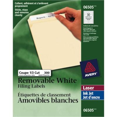 "Avery 6505 Removable Filing Labels, White, 3 7/16"" x 2/3"", 20 Labels/Sheet, 10 Sheets/PK REMOVABLE 3-7/16X2/3 30/SHT 300/PK"
