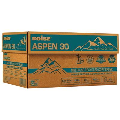 Papier recyclé à usages multiples Aspen 30 Boise, 20 lb, format lettre, emb. de 500 30 % MAT. RECYC. POSTCONSOMM. 20 LB  BRILLANCE 92  500/RAME