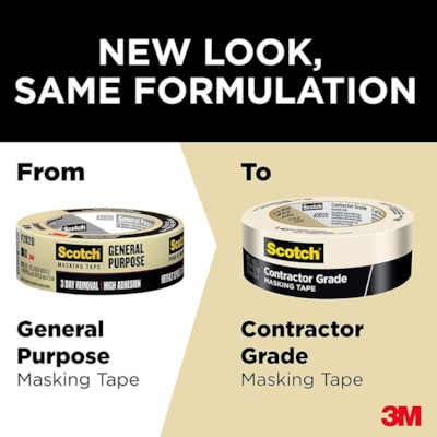 Scotch 2020 Contractor Grade Masking Tape, Tan, 36 mm x 55 m FOR GENERAL PURPOSE