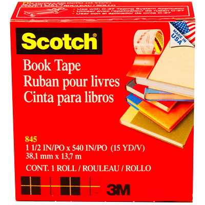 """Scotch Book Repair Permanent Tape, Transparent, 1 1/2"""" x 540"""" LONG USE ON BOOKS MAGAZINES FOR BINDING EDGES AND MORE"""