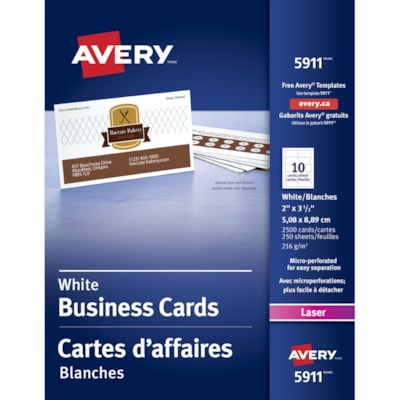 """Avery Micro-Perforated Business Cards for Laser Printers, Matte White, 2"""" x 3 1/2"""", 2,500/PK MICROPERFORATED LASER PRINTER 80LBS MATTE WHITE"""
