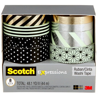 Scotch Expressions Washi Tape Multi-Pack, Black, Metallic Dots and Stripes Collection, 8 Rolls/PK C1017-8-P1 ASSORTED SIZES