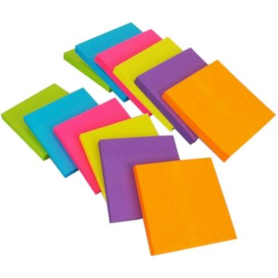 """Grand & Toy Self-Stick Notes, Assorted Deep Colours, Unlined, 3"""" x 3"""", 100 Sheets/Pad, 12/PK 100 SHEETS/PAD 12PK 12 PADS/PACK"""