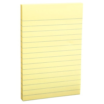 """Grand & Toy Self-Stick Notes, Yellow, Lined, 4"""" x 6"""", 100 Sheets/Pad, 12/PK REPLACED 99142"""