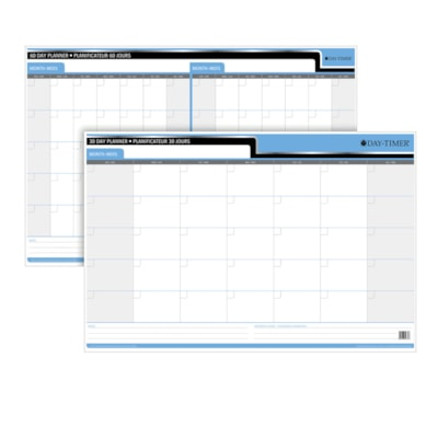 """Day-Timer Flexible 30-Day/60-Day Undated Dry-Erase Calendar, 36"""" x 24"""", Bilingual PLANNER  REVERSIBLE  LAMINATED UNDATED CALENDAR  REUSEABLE"""
