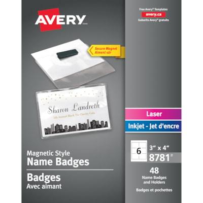 "Avery Magnetic Style Name Badges, White/Clear, 3"" x 4"", 48/PK LASER/INKJET  3"" X 4"" 48 BADGES/BOX"