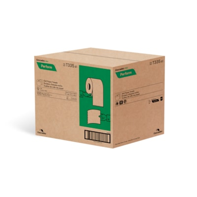"Cascades PRO Perform 1-Ply Paper Towels for Tandem Dispenser, Natural, 7 1/2"" x 600', 12/CT 12/CASE  600 FEET  NATURAL"