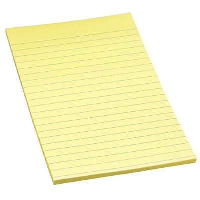 """Post-it Original Lined Notes, Canary Yellow, 5"""" x 8"""", Pad of 100 Sheets, Pack of 2 Pads 2PK"""