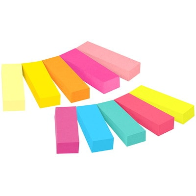 """Post-it Page Markers, Assorted Ultra Bright Colours, 1/2"""" x 2"""", 50 Sheets/Pad, 10 Pads/PK ASSORTED ULTRA BRIGHT COLOURS 50 SHT/PAD 10 PADS/PK"""