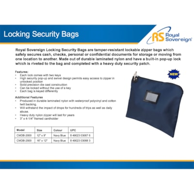 """Royal Sovereign Locking Security Bag, Navy Blue, 12"""" x 9"""" 12 IN. X 9 IN. NAVY BLUE"""