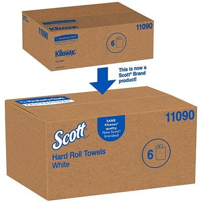 Rouleaux d'essuie-mains 1 épaisseur Essentials Plus+ Scott, blanc, 600 pi, caisse de 6