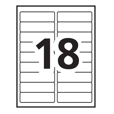 "Avery TrueBlock Extra Large Laser/Inkjet File Folder Labels, White,  3 7/16"" x 15/16"", 18 Labels/Sheet, 20 Sheets/PK 3 7/16""X15/16"" LASER INKJET"