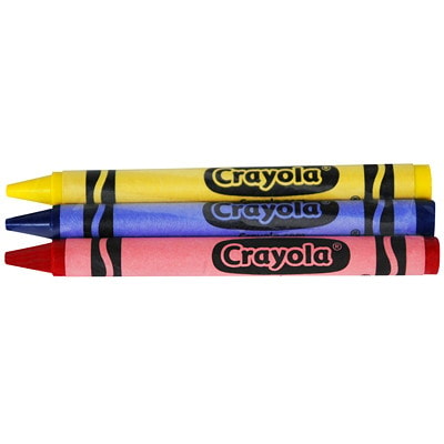 Crayola Crayons, Assorted Colours, 3/PK, 360 Packages/BX (1,080 crayons) RED  BLUE  YELLOW 3PK IN CELLOPHANE WRAP