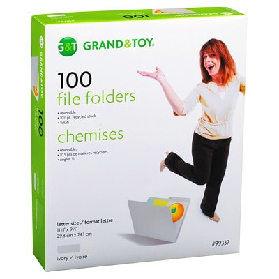 """Grand & Toy 1/2 Tab File Folders, Ivory, Letter-Size, 8 1/2"""" x 11"""", 100/BX 10% RECYCLED 1/2 TAB REVERSI- BLE SCORED FOR EXPANSION"""