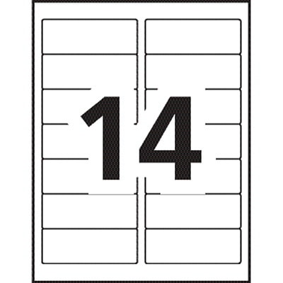 "Avery 5159 Address Labels, White, 1 1/2"" x 4"", 14 Labels/Sheet, 100 Sheets/BX 14/SHEET PERMANENT ADHESIVE AVERY 100 SHEETS/BX 1400/BX"