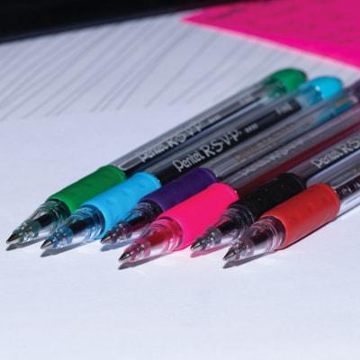 Pentel R.S.V.P. Ballpoint Pen, Black, Medium 1.0 mm RUBBER GRIP REFILLABLE STAINLESS STEEL TIP