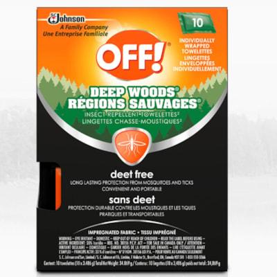 OFF! Deep Woods Deet-Free Insect Repellent Wipes, 10/PK DEEP WOODS 10/PK