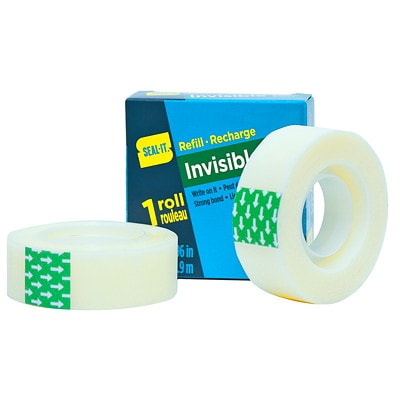 """Seal-It Invisible Tape Refills, Matte Finish, 3/4"""" x 108', 3/PK 3 PACK REFILL"""