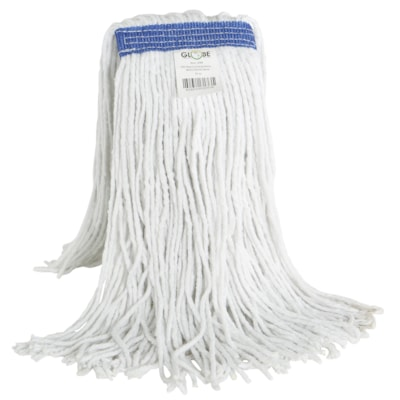 Globe Commercial Products Synthetic Wet Mop With Narrow Band And Cut End, 16 oz CUT END WHITE NOT LAUNDERABLE