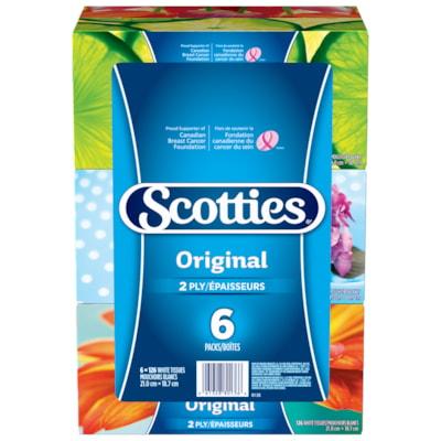 Scotties 2-Ply Original Facial Tissue, White, 126 Sheets/BX, 6/PK 126 SHEET/PK 2-PLY