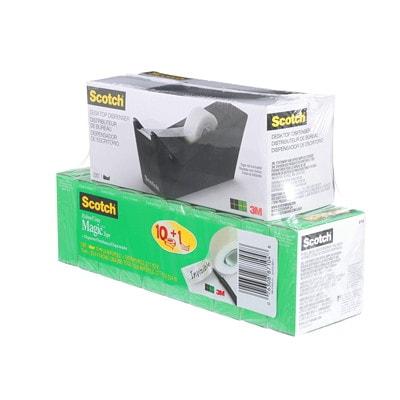 "Scotch Magic Tape Refills with Bonus Dispenser BLK WITH 10 ROLLS TAPE 3/4"" X 1000' 810 MAGIC TAPE"
