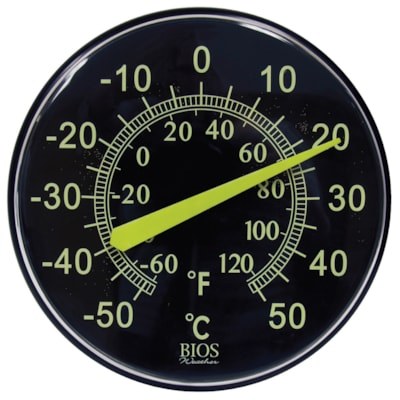 """BIOS Living Neon Dial Thermometer, 12"""" GLOWS IN NEON LIGHT WEATHER RESISTANT"""