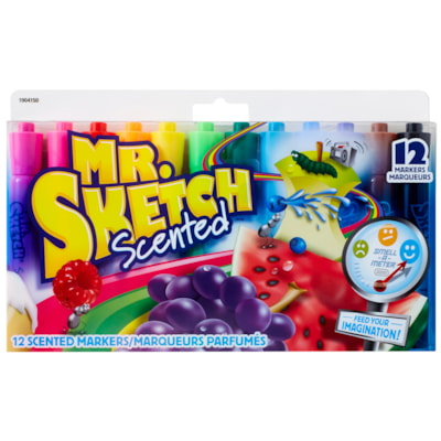 Mr. Sketch Scented Chisel-Tip Markers, 12/Pack SCENTED 12PK ASSORTED COLOURS WASHABLE NON TOXIC