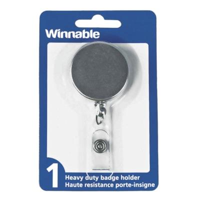 Winnable Retractable Reel Clip Name Badge Holder CHROME. RETRACTABLE